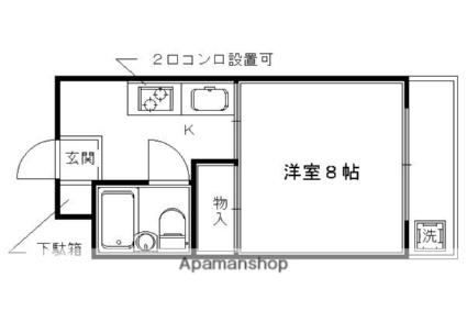 京都府京都市右京区西京極新明町[1K/22.68m2]の間取図