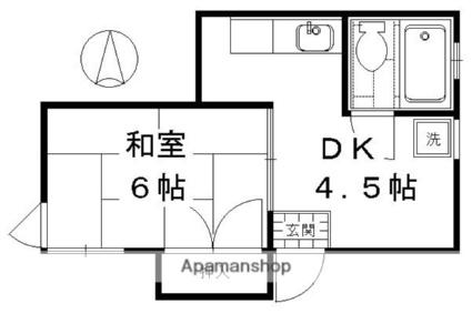 京都府京都市下京区梅小路高畑町[1DK/21.38m2]の間取図