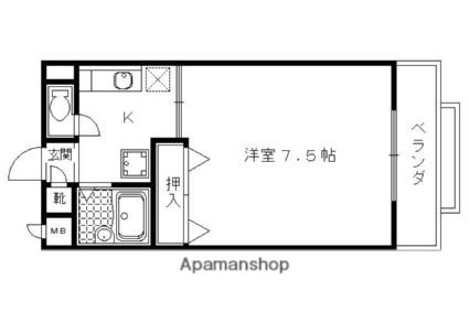 京都府京都市左京区一乗寺西水干町[1K/21.42m2]の間取図