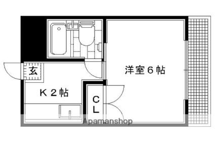 京都府京都市左京区八瀬近衛町[1K/18m2]の間取図
