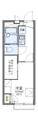 レオパレス蜂ヶ岡[1K/19.87m2]の間取図