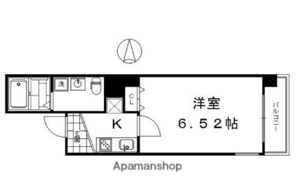 ブリエ五条大宮[1K/21.39m2]の間取図