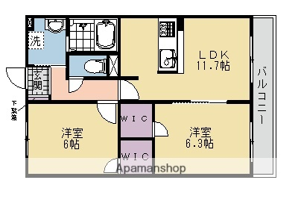 京都府京都市右京区西京極大門町[2LDK/55.66m2]の間取図