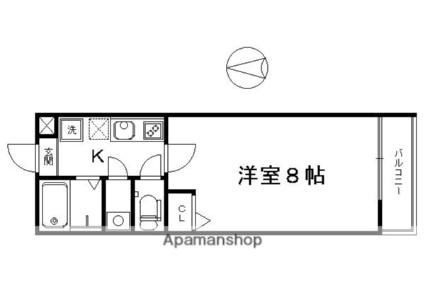 京都府京都市下京区西新屋敷下之町[1K/22.36m2]の間取図