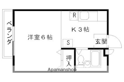 京都府京都市右京区山ノ内赤山町[1K/16.71m2]の間取図