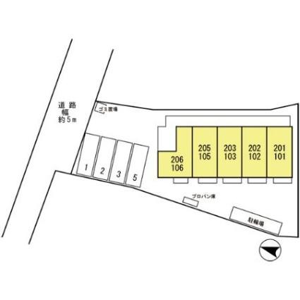 京都府京田辺市田辺深田[1K/26.71m2]の配置図