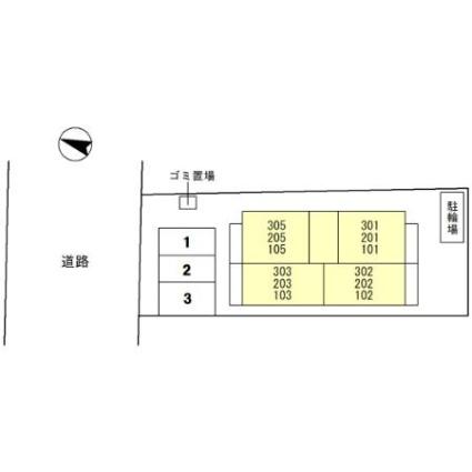 京都府京田辺市三山木見尊田[1K/26.86m2]の配置図