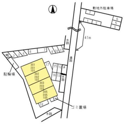 グレイスフル神前[2LDK/57.12m2]の配置図