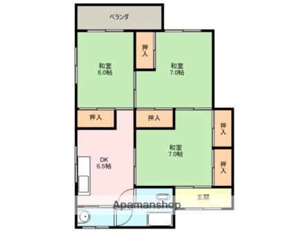 長山ハイツ[3DK/55m2]の配置図