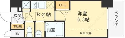 エスリード京橋グランツ[1K/22.18m2]の間取図