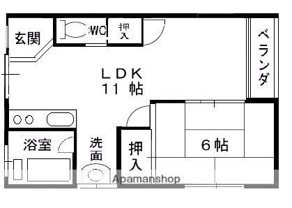 兵庫県西宮市津門大塚町[1LDK/41.25m2]の間取図
