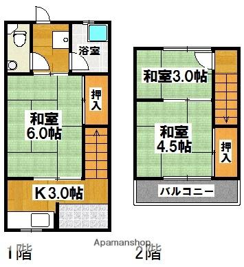 中岡連棟貸家[3K/45m2]の間取図
