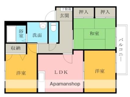 グリーンヴィラ中町D棟[3LDK/62.07m2]の配置図