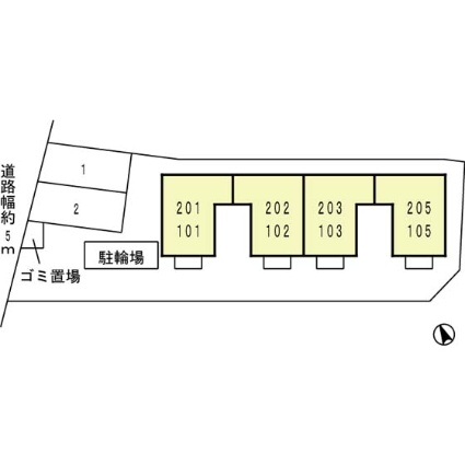 セジュールTanigami[1K/22.76m2]の配置図