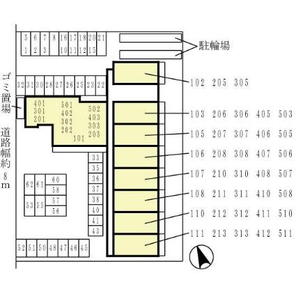 WIZ PLAISIR 若王寺[2LDK/59.42m2]の配置図