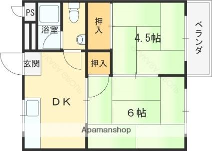 兵庫県神戸市東灘区住吉本町1丁目[2DK/32.6m2]の間取図