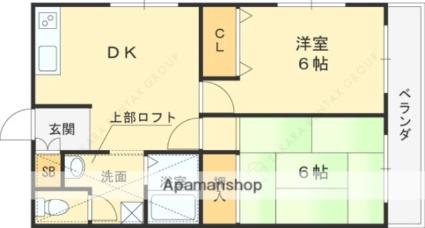 兵庫県神戸市東灘区住吉本町1丁目[2DK/48m2]の間取図