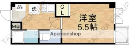 ロンモンターニュ小阪[1K/17.6m2]の間取図