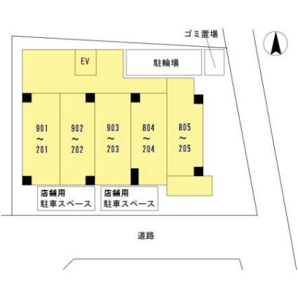 Vista Grande 東灘[1R/25.72m2]の配置図