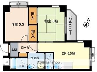 メゾンミヤマエ[2DK/44.46m2]の間取図