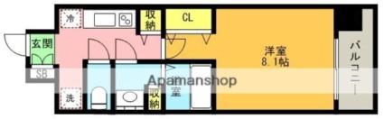 W-STYLE神戸Ⅱ[1K/26.32m2]の間取図