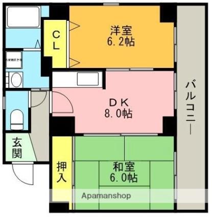 上沢壱番館[2DK/50.97m2]の間取図