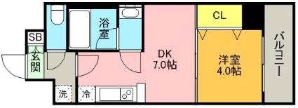 プレジオ神戸WEST[1DK/28.82m2]の間取図