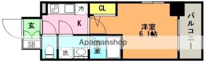 エスリード神戸兵庫駅マリーナスクエア[1K/21.68m2]の間取図