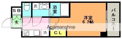 エスリード神戸グランドール[1K/21.38m2]の間取図