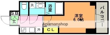 エスリード神戸グランドール[1K/21.02m2]の間取図