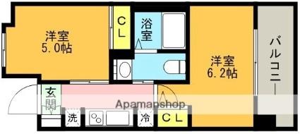 エステムプラザ神戸西Ⅴミラージュ[2K/30.58m2]の間取図