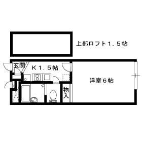 レオパレスクロスロード二葉[1K/19.87m2]の間取図