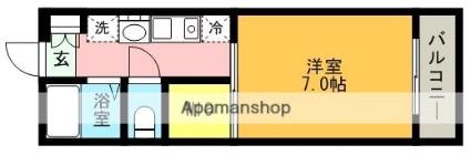 flat大村Ⅱ[1K/22.35m2]の間取図