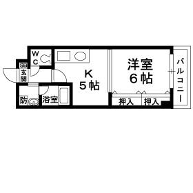 兵庫県神戸市東灘区御影中町6丁目[1K/27.63m2]の間取図