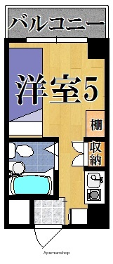 シャンクレール奈良[1K/16m2]の間取図