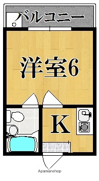 コーポ諏訪西大寺[1K/16m2]の間取図