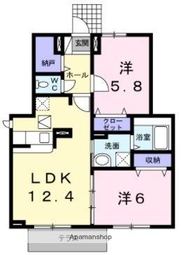 奈良県天理市稲葉町[2LDK/56.83m2]の間取図