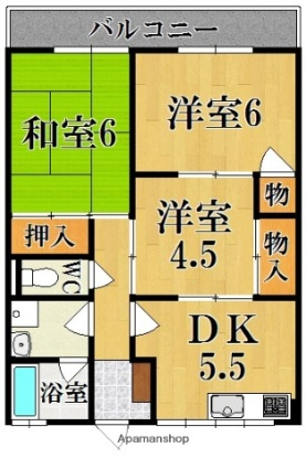 芳倉マンション[2LDK/51m2]の間取図