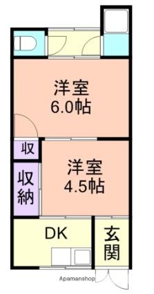 有家住宅[2K/33m2]の間取図