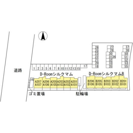 Dーroomシルクマム[1LDK/44.68m2]の配置図