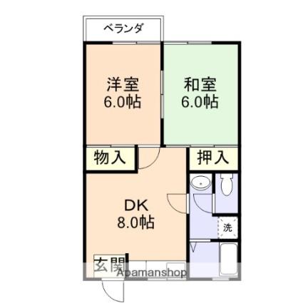 和歌山県和歌山市里[2DK/44.2m2]の間取図