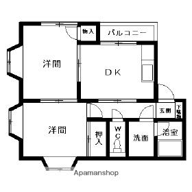 和歌山県和歌山市布施屋[2DK/40.57m2]の間取図