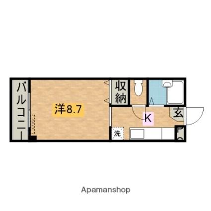 和歌山県田辺市東陽[1K/26.08m2]の間取図