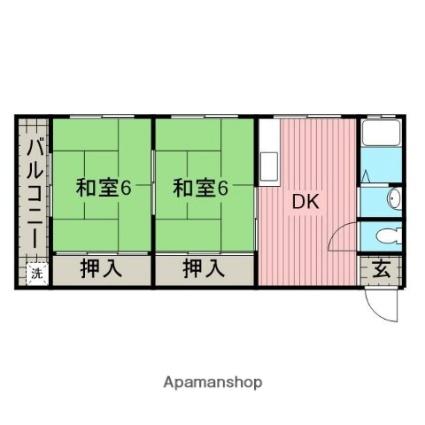 和歌山県田辺市稲成町[2DK/41m2]の間取図