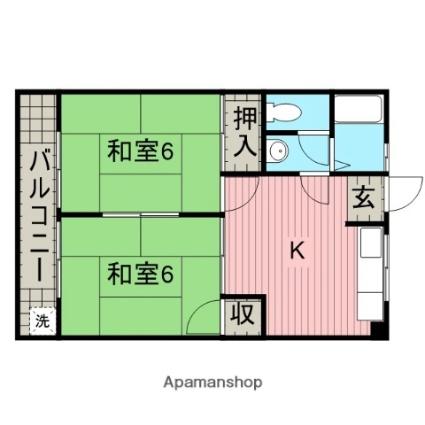 和歌山県田辺市稲成町[2K/41m2]の間取図
