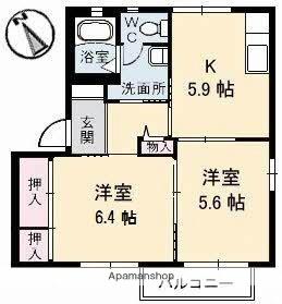 ルミエールひえづ[2DK/43.42m2]の間取図