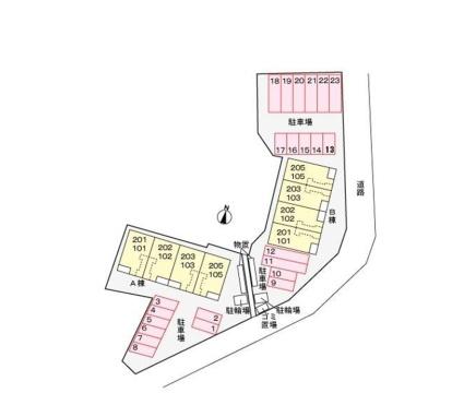 グランソレイユA[2LDK/65.37m2]の配置図