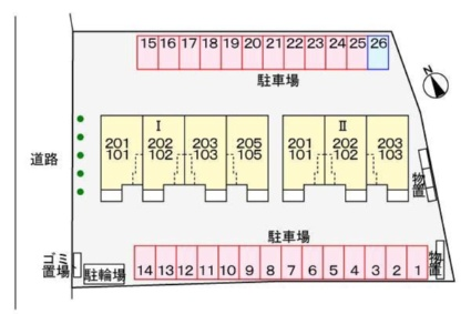 グラン クラージュ Ⅱ[2DK/50.29m2]の配置図