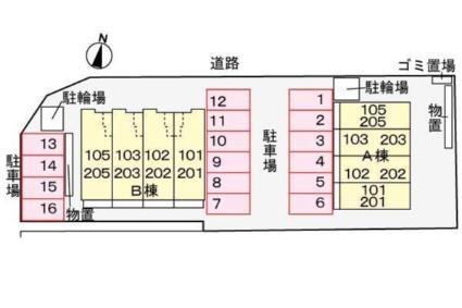 トパーズ55 B[1K/36.69m2]の配置図