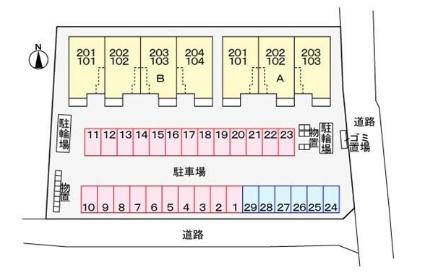 ミューク A[2LDK/61.45m2]の配置図